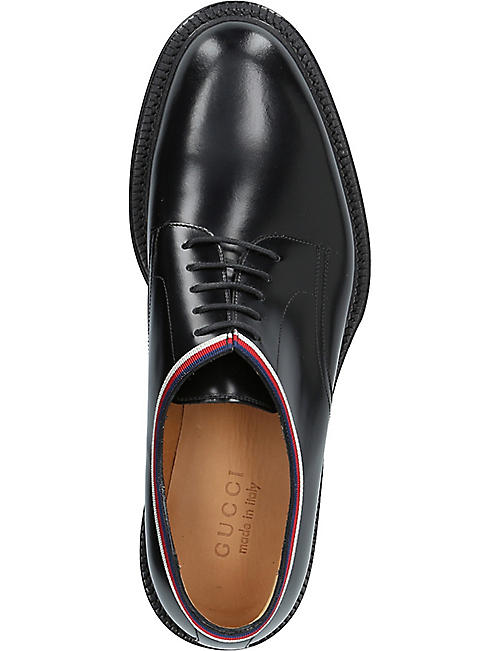 GUCCI Web-trimmed leather derby shoes