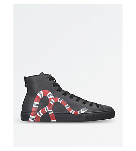 Major Snake-Embellished Leather Sneakers, Black