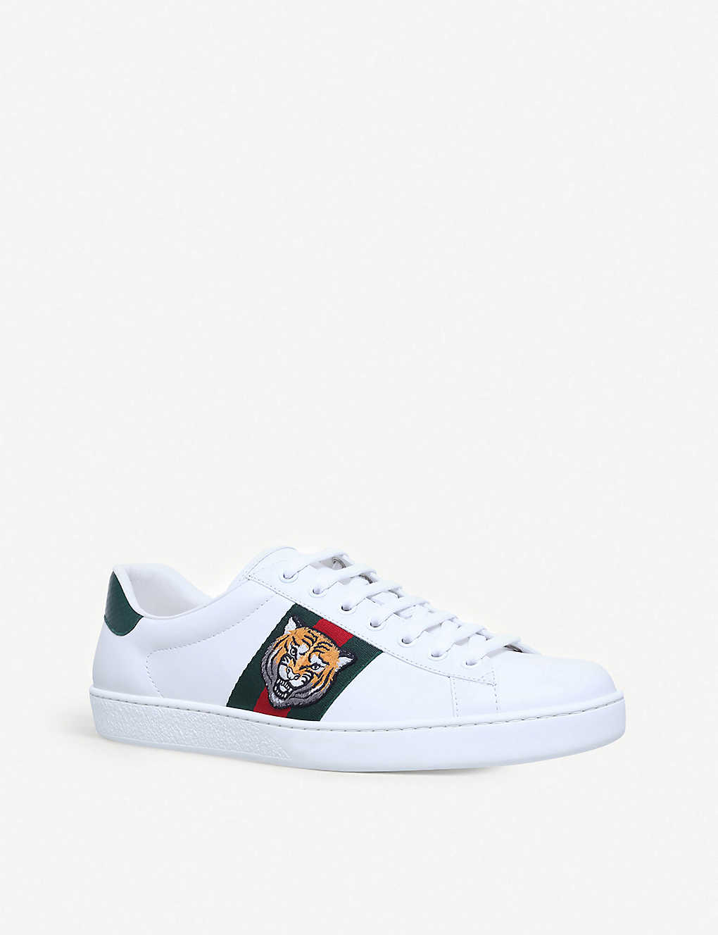 908b5bc95b7 ... New Ace tiger-embroidered leather trainers - White ...