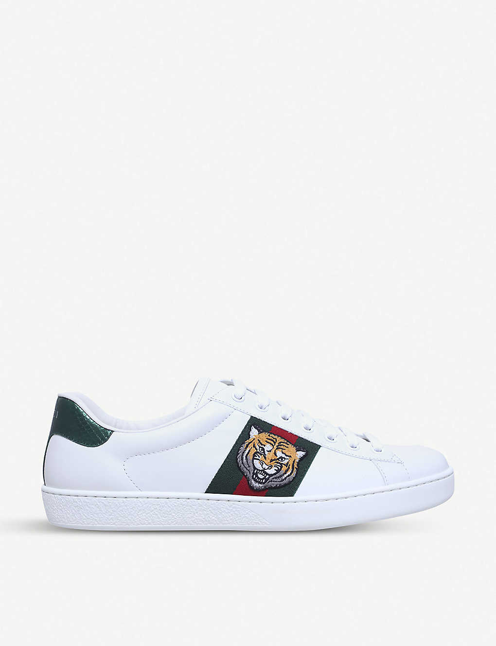 68cb34011 GUCCI - New Ace tiger-embroidered leather trainers | Selfridges.com