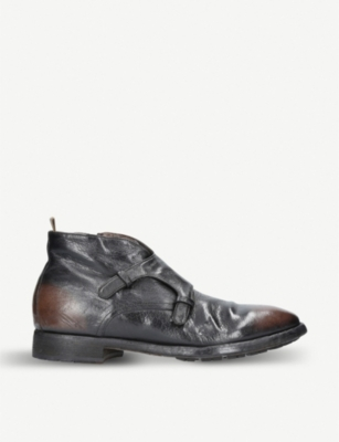 OFFICINE CREATIVE Clean double monk strap ankle boots