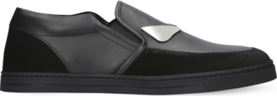FENDI Monster suede and leather skate shoes