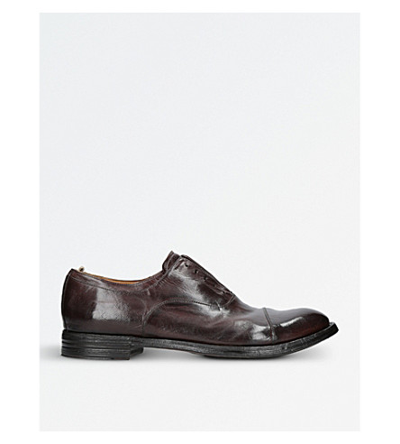OFFICINE CREATIVE Dark Brown Brushed Leather Derby Shoes
