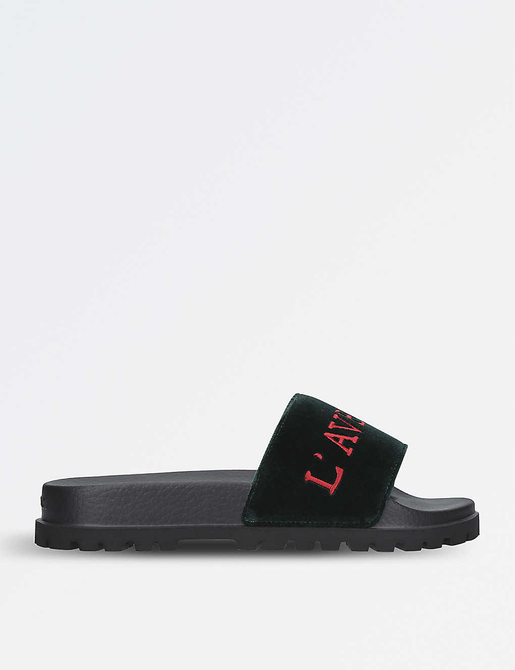 51df90bee GUCCI - Pursuit velvet slider sandals | Selfridges.com