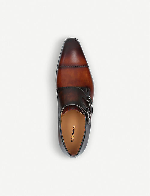 MAGNANNI Double-strap leather monk shoes