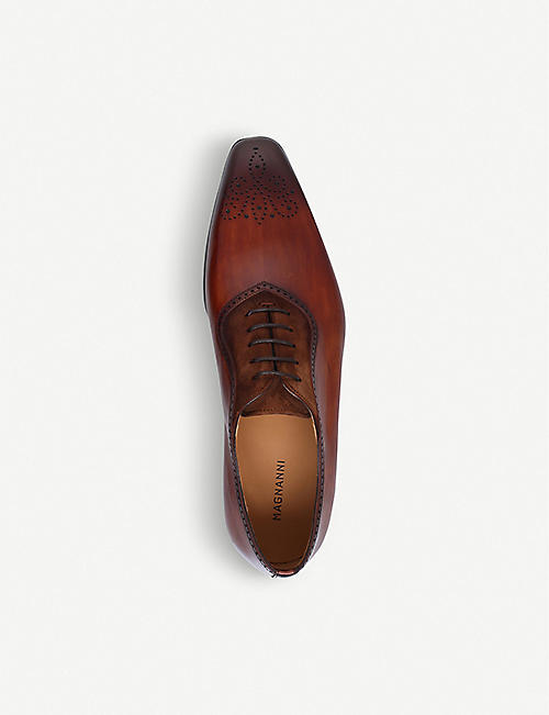 MAGNANNI Perforated leather and suede Oxford shoes