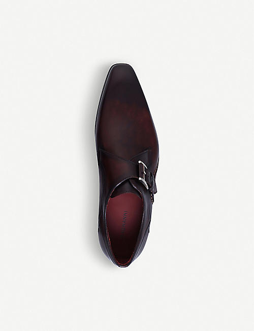 MAGNANNI Opanka leather monk shoes