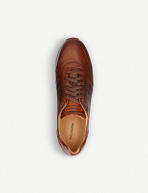 MAGNANNI Stripe leather trainers