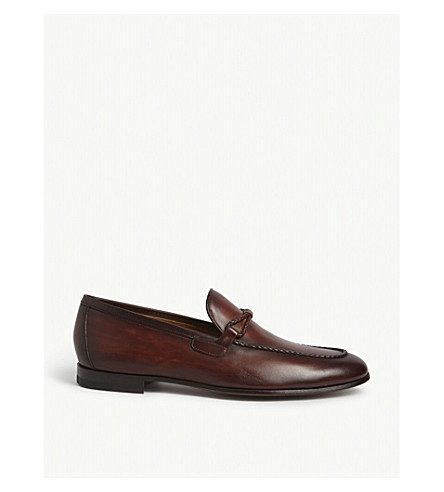 MAGNANNI Braid-Trim Leather Loafers in Beige