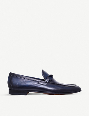 MAGNANNI Braid-trim leather loafers
