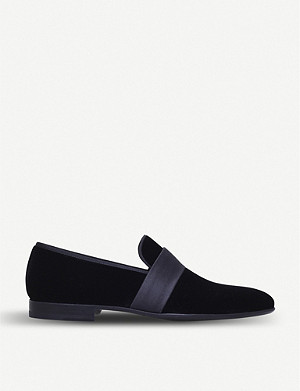 MAGNANNI Satin-trimmed velvet loafers