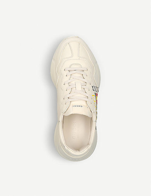 GUCCI Mens rhyton GG leather running trainers