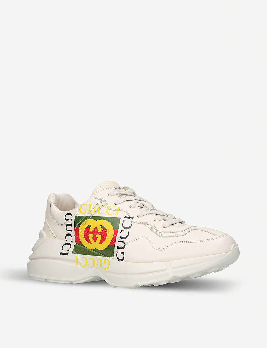 2ab8432608f ... Mens rhyton GG leather running trainers - Whitecomb ...