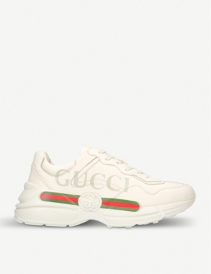 GUCCI Mens rhyton logo leather running trainers