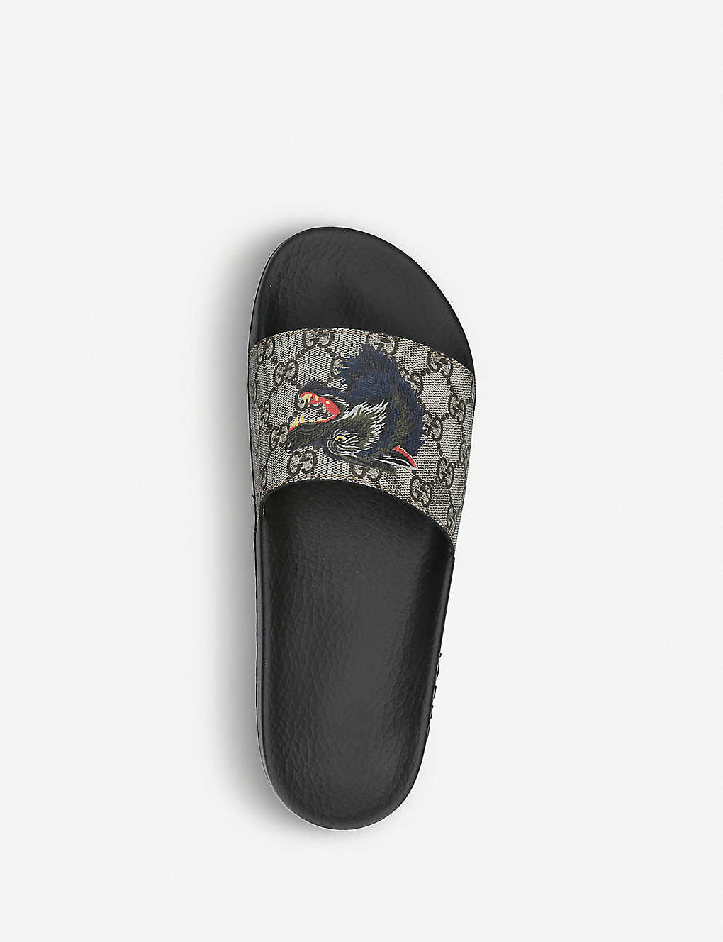 c7fd1755b7ec GUCCI - Supreme wolf-print canvas slider sandals