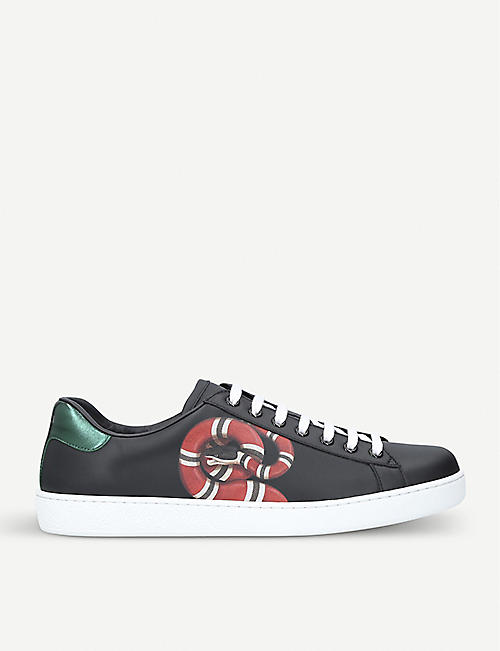 9303d4d9095 GUCCI New Ace embroidered-snake leather trainers