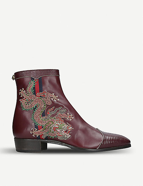 482cba9f726 GUCCI Plata dragon-embroidered leather boot