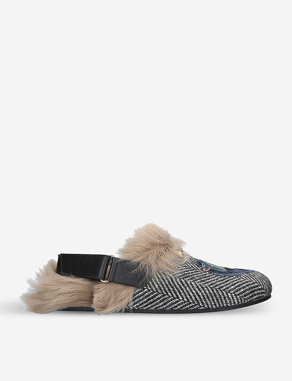 a4c9a39b603 GUCCI - River wolf-embroidered leather and shearling slippers ...