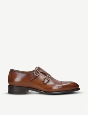 SANTONI Monk double-buckle leather shoes