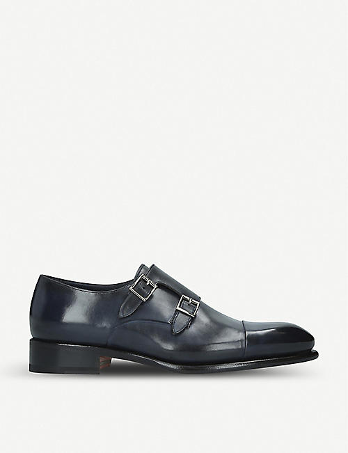 SANTONI Carter double-strap leather monk shoes