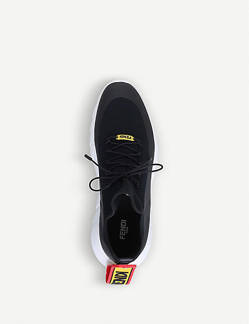 FENDI Logo-tag knitted trainers