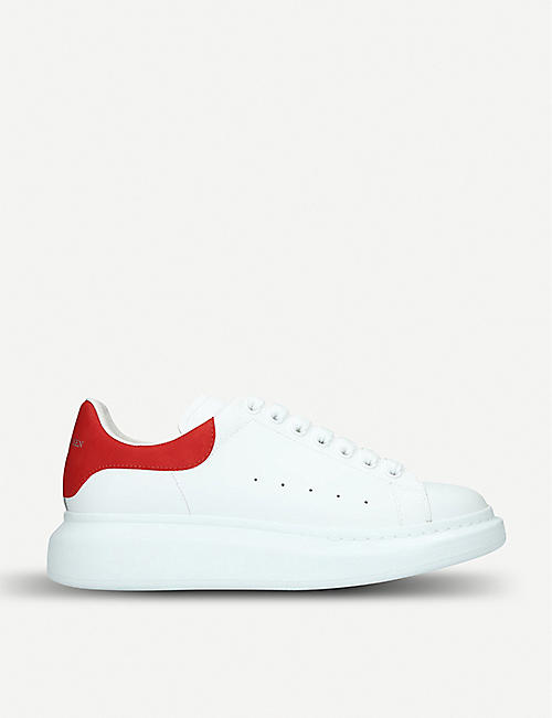 76b29522ae9 ALEXANDER MCQUEEN Show suede-trimmed leather platform trainers