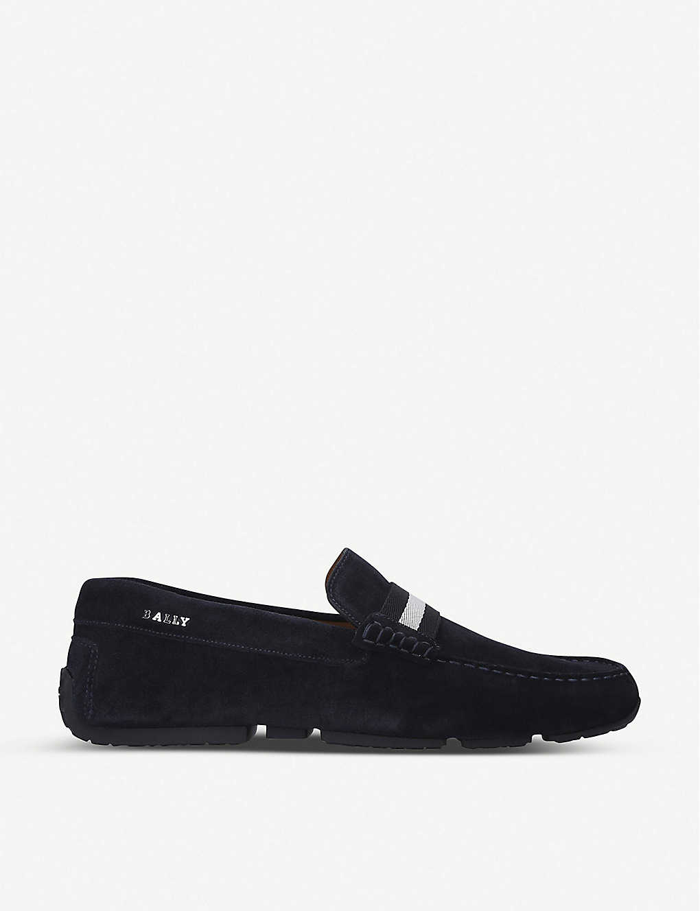 BALLY: Pearce grosgrain-trim suede loafers