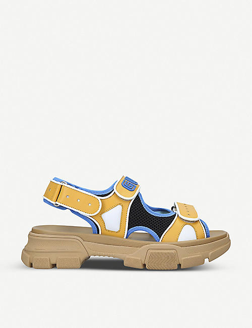 GUCCI Flashtrek leather and mesh sandals