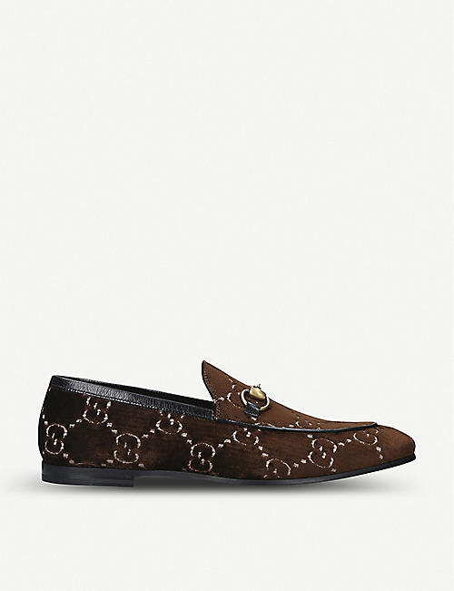 GUCCI: Jordan logo-embroidered velvet loafers