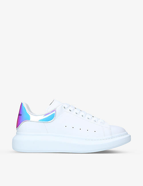 ALEXANDER MCQUEEN Show metallic-trimmed leather trainers 753a248660d