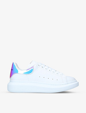 ALEXANDER MCQUEEN Show metallic-trimmed leather trainers