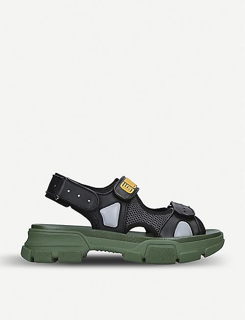 948602765fcc GUCCI Aguru Trek leather and mesh sandal