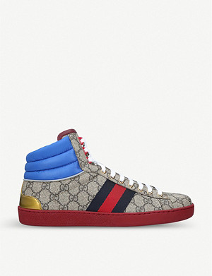 GUCCI New Ace GG canvas and leather trainers