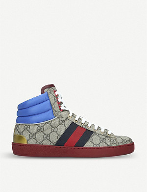 GUCCI New Ace GG Supreme leather and canvas trainers