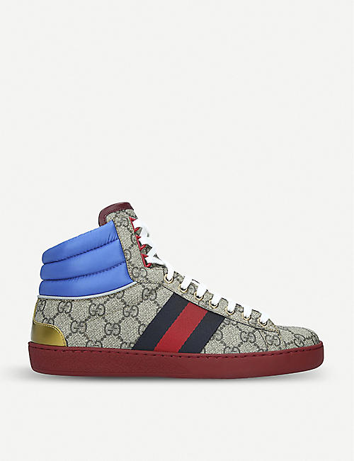 b2be0619c71 GUCCI New Ace GG Supreme leather and canvas trainers