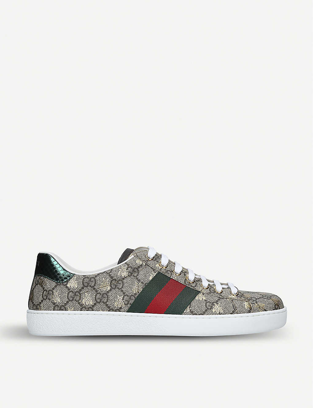 4e6f6baf0 GUCCI - New Ace golden bee-embroidered canvas trainers | Selfridges.com