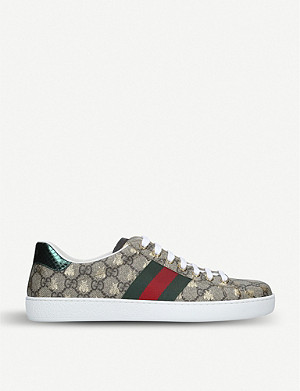 GUCCI New Ace golden bee-embroidered canvas trainers