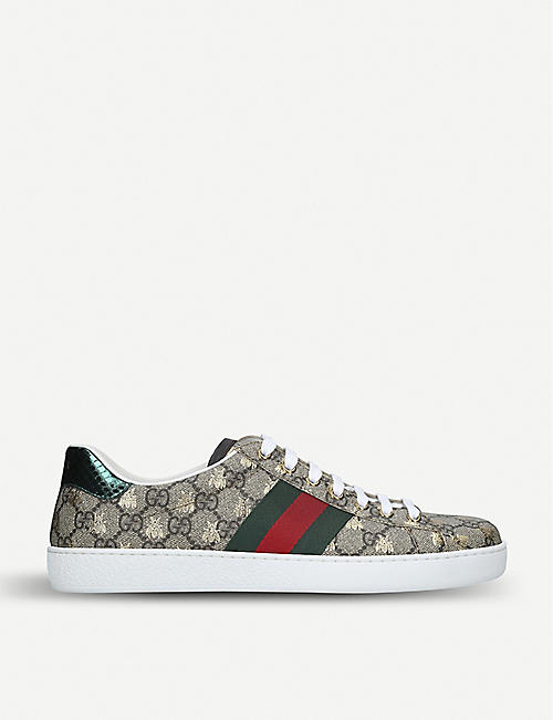 5d48253b0ce GUCCI New Ace golden bee-embroidered canvas trainers