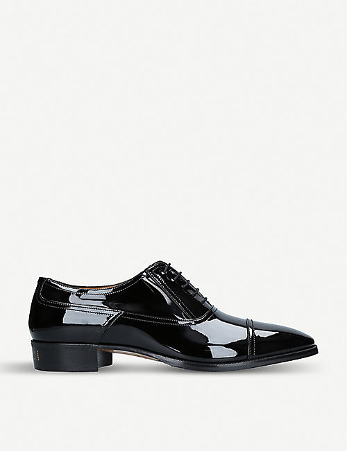 d5a3cb3f78a GUCCI Plata patent-leather Oxford shoes