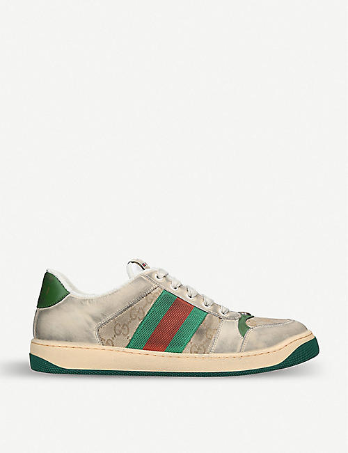 b0ce80be77d GUCCI Virtus GG distressed leather and textile trainers