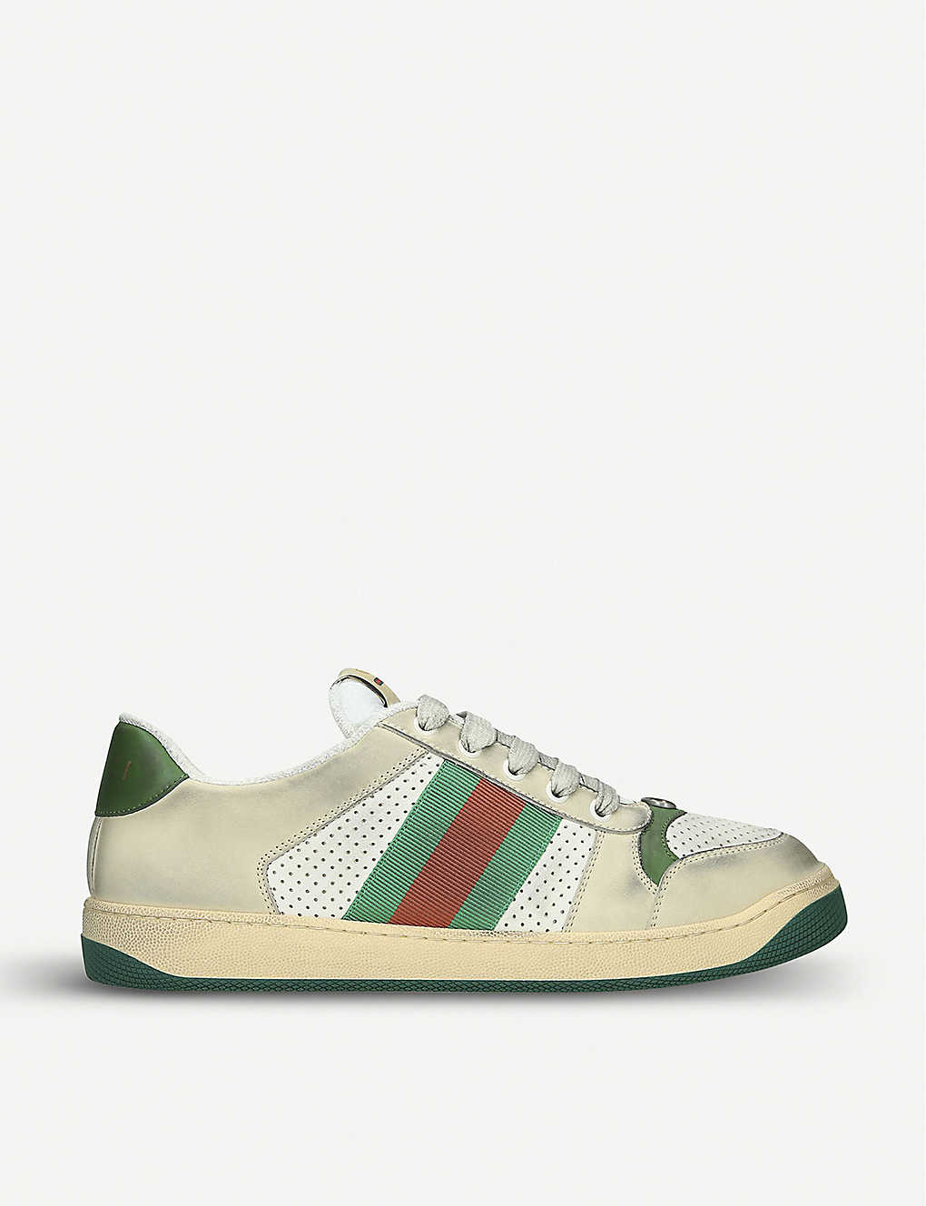 Gucci Shoes Virtus distressed leather trainers