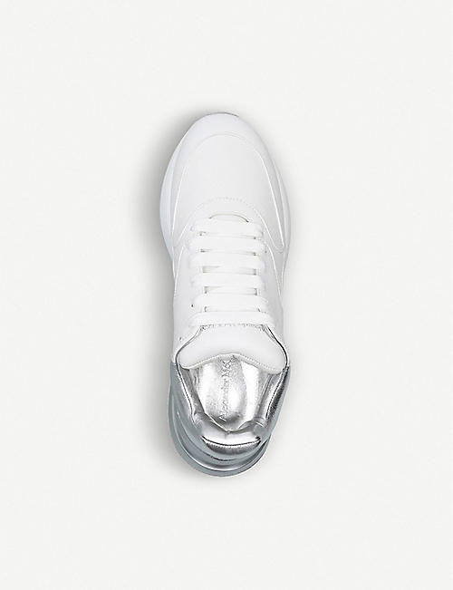 ALEXANDER MCQUEEN Metallic detail wedge leather runner trainers