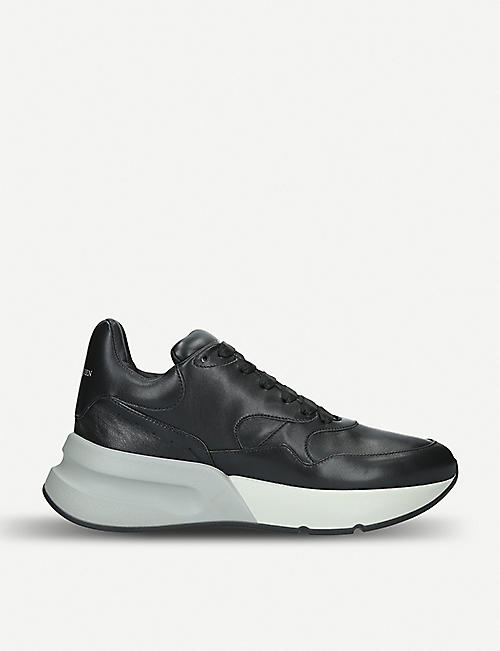 ALEXANDER MCQUEEN Mens Runner wedge sole leather trainers