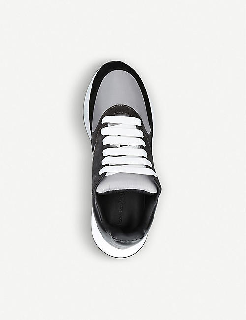 ALEXANDER MCQUEEN Panelled wedge sole leather and suede trainers