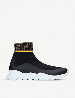 FENDI Reloaded Monster FF-trim stretch-knit high-top trainers