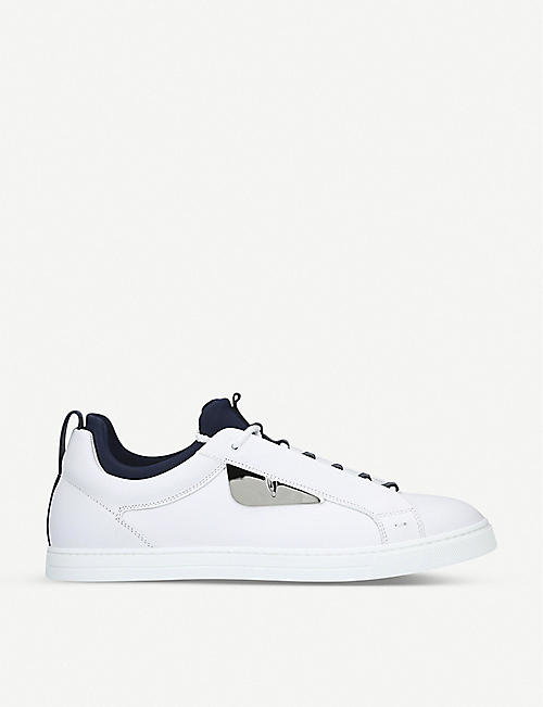 FENDI Monster leather and neoprene trainers