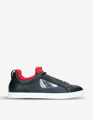 FENDI Monster leather tennis trainers