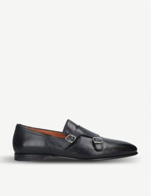 SANTONI Carlos double-strap leather monk shoes