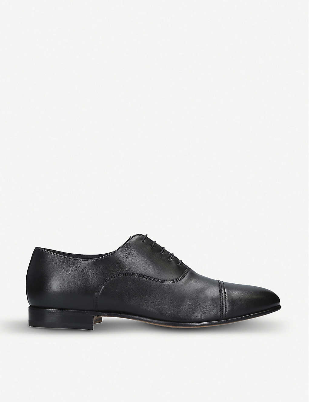 SANTONI: Kenneth leather Oxford shoes