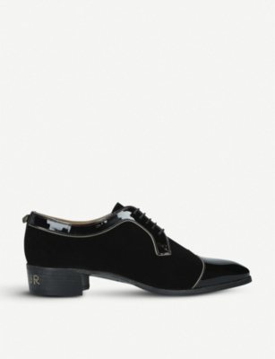 GUCCI Thune velvet and patent leather brogues